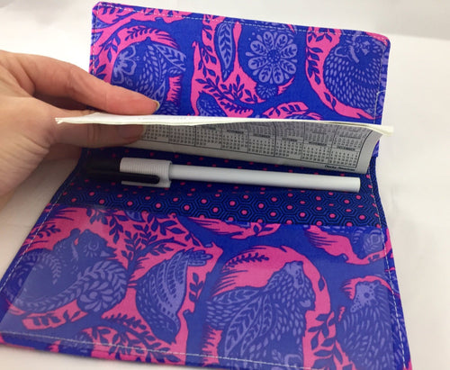 Blue Checkbook Cover, Animal Duplicate Check Holder, Pen Holder, Bear, Raccoon - EcoHip Custom Designs