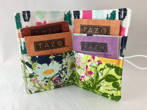 Flowers, Green, Tea Bag Holder for Purse, Fabric Gift Card Case, Condiment Cozy - EcoHip Custom Designs