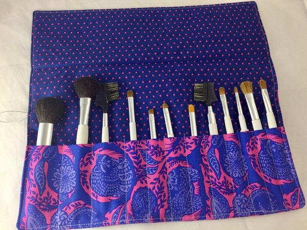 Blue Makeup Brush Holder, Animal Makeup Brush Case, Polka Dot Roll - EcoHip Custom Designs