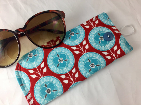 Red Eye Glasses Case, Teal Medallion Reading Glass Pouch, Sun Glasses Sleeve - EcoHip Custom Designs