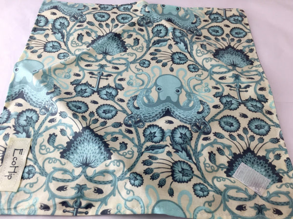 Octopus Sandwich Wrap, Sea Animal Sandwich Bag, Blue Reusable Napkin - EcoHip Custom Designs
