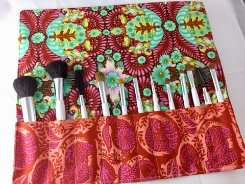 Animal Makeup Brush Roll, Travel Cosmetic Brush Pouch, Turtle Paint Brush Bag - EcoHip Custom Designs
