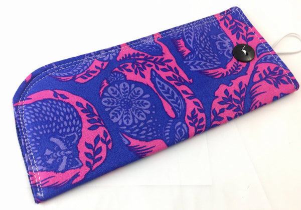 Blue Reading Glasses Case, Animal Sunglasses Sleeve, Fox, Rabbit, Deer Fabric Cover - EcoHip Custom Designs