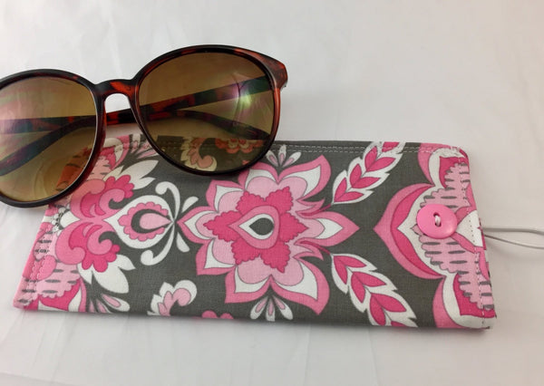 Pink Damask Sunglass Pouch, Gray Eye Glasses Cozy, Soft Padded Eyeglass Cover - EcoHip Custom Designs