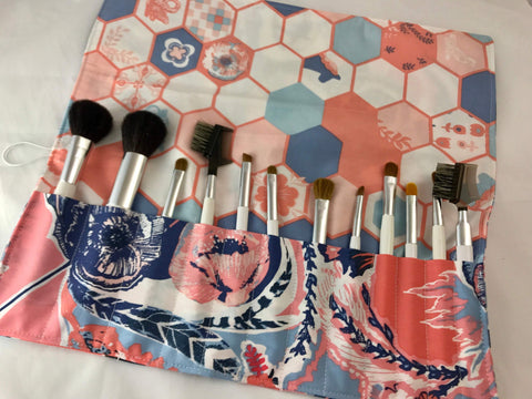 Pink Cosmetic Brush Roll, Blue Paint Brush Holder, Travel Make Up Bag - EcoHip Custom Designs