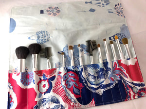 Red Makeup Brush Roll, Dark Blue Makeup Brush Holder, Travel Bag - EcoHip Custom Designs