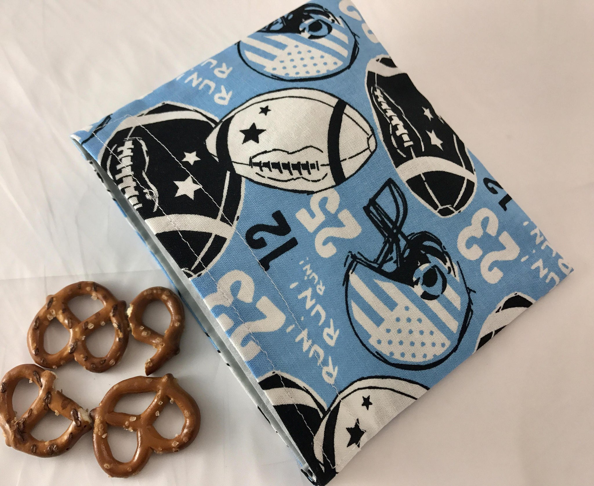 Football Snack Bag, Blue Reusable Snack Bag, Sports School Lunch - EcoHip Custom Designs