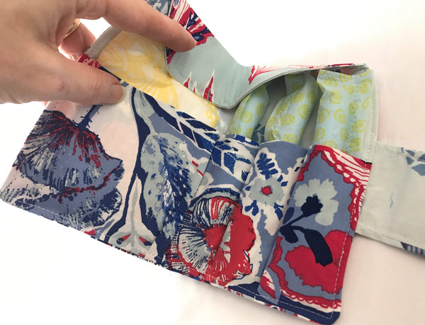 Red Tampon Holder, Blue Shark Week Wallet, Women's Privacy Case - EcoHip Custom Designs