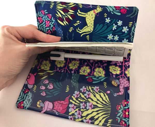 Blue Checkbook Cover, Duplicate Check Book Wallet, Pen Holder, Women's Checkbook - EcoHip Custom Designs