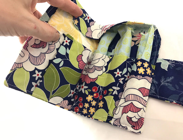 Navy Blue Floral Tampon Wallet, Birds Sanitary Pad Pouch, Feminine Products Bag - EcoHip Custom Designs