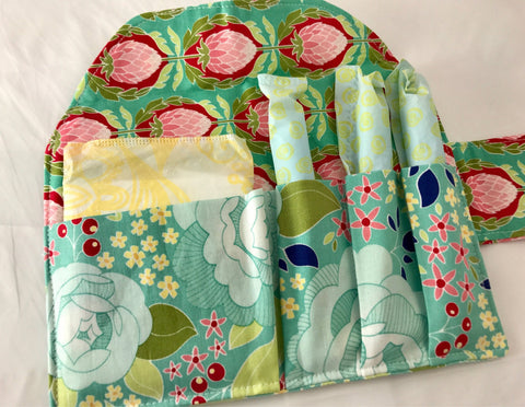 Teal Sanitary Pad Pouch, Privacy Wallet, Artichoke Tampon Holder - EcoHip Custom Designs