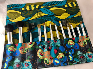 Green Makeup Brush Roll, Blue Floral Make Up Brush Holder, Cosmetic Brush Bag - EcoHip Custom Designs