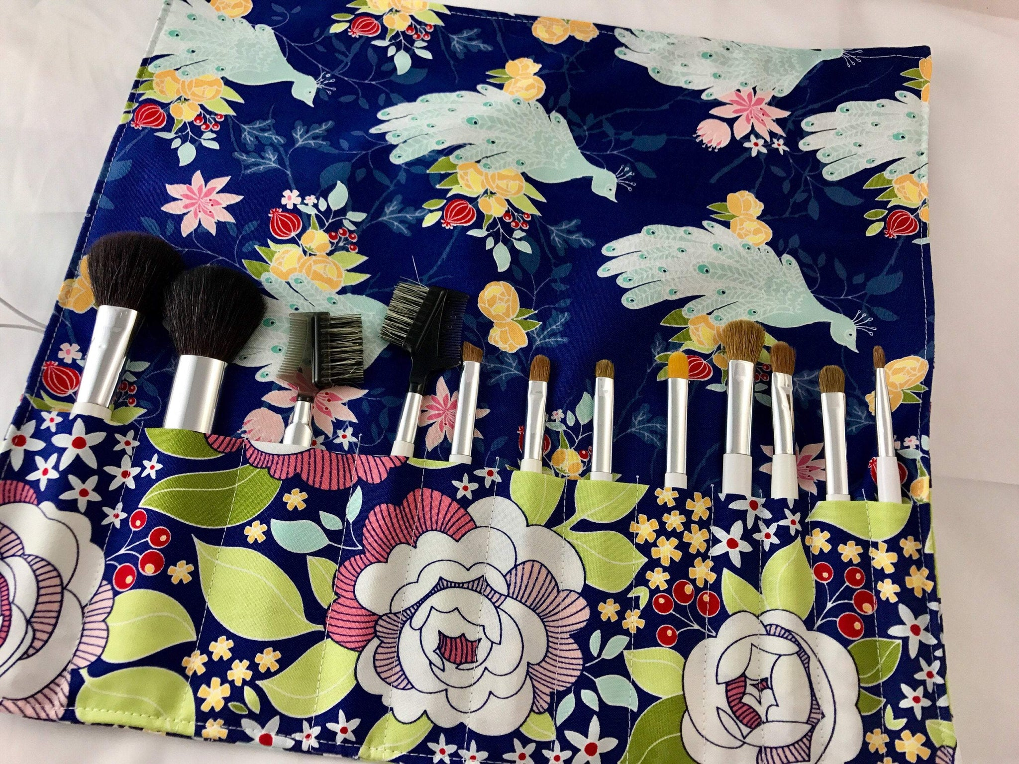 Blue Cosmetic Brush Case, Travel Make Up Brush Holder, Brush Roll - EcoHip Custom Designs
