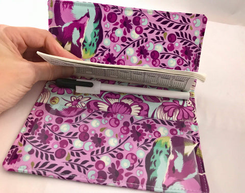 Fox Duplicate Checkbook Cover, Purple Fabric Check Book Register, Top Tear - EcoHip Custom Designs