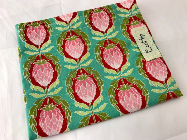 Teal, Green Artichoke Snack Bag, Reusable Fabric Snack Baggie - EcoHip Custom Designs