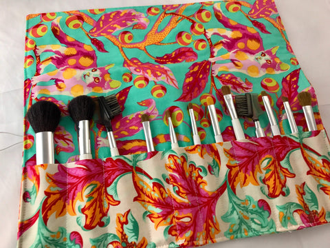 Pink Makeup Brush Case, Green Make Up Brush Holder, Travel Bag - EcoHip Custom Designs