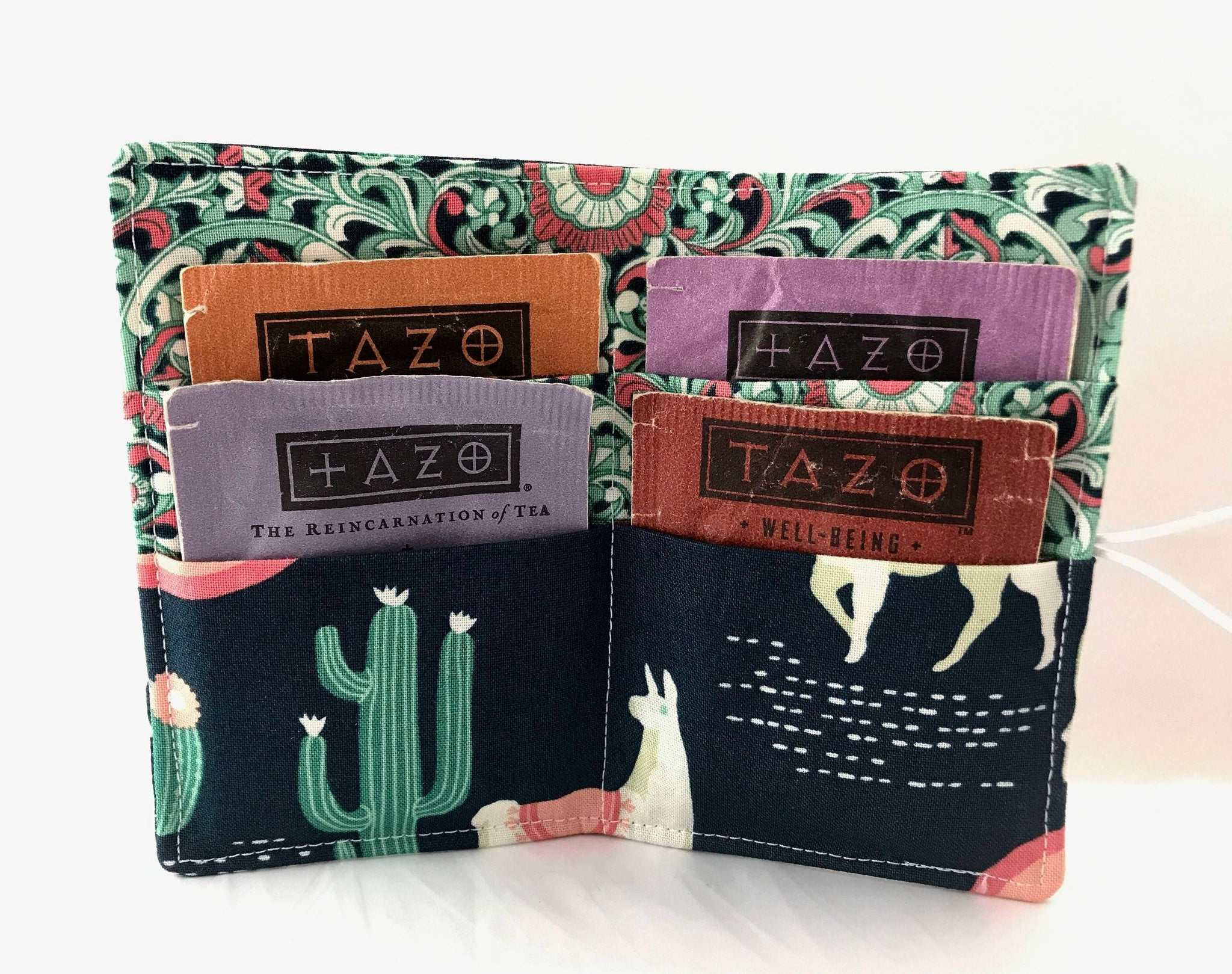 Green Llamas, Teabag Wallet, Tea Drinker Gift, Gift Card Case - EcoHip Custom Designs