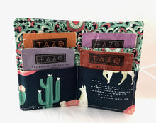Load image into Gallery viewer, Green Llamas, Teabag Wallet, Tea Drinker Gift, Gift Card Case - EcoHip Custom Designs