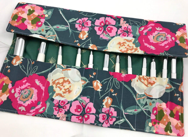 Pink Makeup Brush Roll, Dandelion Make Up Brush Case, Travel Green Pouch - EcoHip Custom Designs