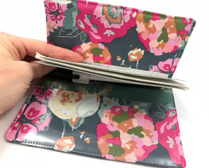 Green Checkbook Register, Pink Floral Duplicate Check Book Wallet, Pen Holder - EcoHip Custom Designs