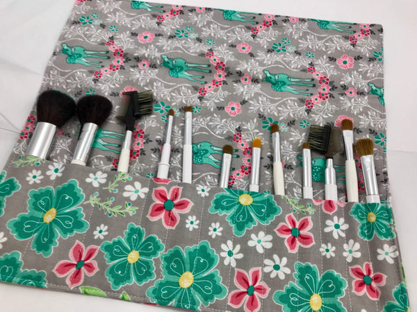Gray Make Up Brush Organizer, Travel Makeup Brush Case for Cosmetic Artists - EcoHip Custom Designs