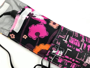 Pink Hair Straightener Holder, Black Curling Wand Case, Travel Curling Iron Bag - EcoHip Custom Designs