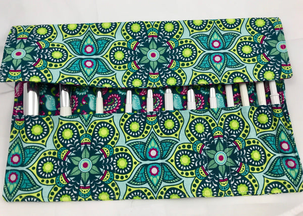 Green Makeup Brush Holder, Paisley Make Up Brush Roll Up, Travel Makeup Bag - EcoHip Custom Designs
