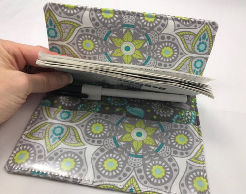 Gray Duplicate Checkbook, Paisley Checkbook Wallet, Pen Holder - EcoHip Custom Designs