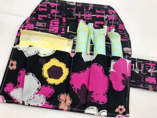 Black Privacy Pouch, Magenta Floral Tampon and Sanitary Pad Wallet Holder - EcoHip Custom Designs