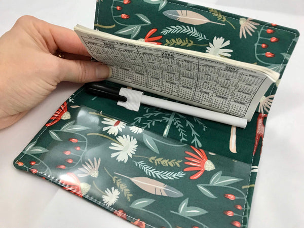 Forest Green Duplicate Check Book Cover, Women's Checkbook Wallet, Receipt Organizer - EcoHip Custom Designs