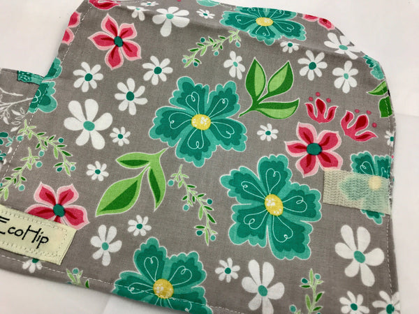 Gray Floral Tampon Wallet, Feminine Products Bag, Deer, Sanitary Pad Case - EcoHip Custom Designs