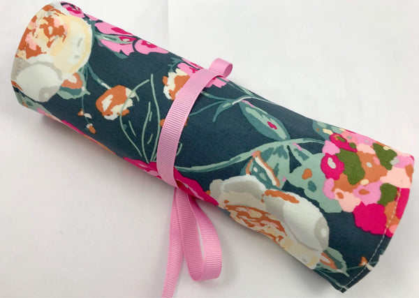 Floral Travel Jewelry Box, Green Overnight Jewelry Roll, Pink - EcoHip Custom Designs