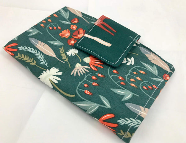 Green Tampon Wallet, Deer Sanitary Pad Holder, Floral Feminine Products Pouch - EcoHip Custom Designs
