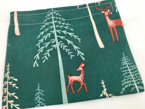Green Deer Snack Bag, Eco-Friendly Animal Snack Pouch for School - EcoHip Custom Designs