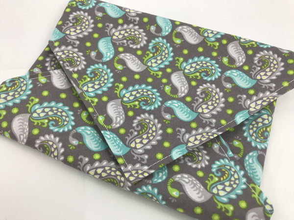 Paisley Lunch Napkin, Reusable Gray Sandwich Bag, Eco-Friendly Bird Wrap - EcoHip Custom Designs