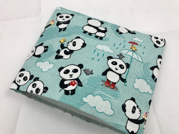 Panda Bear Snack Bag, Reusable School Lunch Bag, Blue Snack Sack - EcoHip Custom Designs