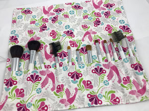 Peacock Birds Makeup Brush Bag, Travel Make Up Brush Case, Brush Roll - EcoHip Custom Designs