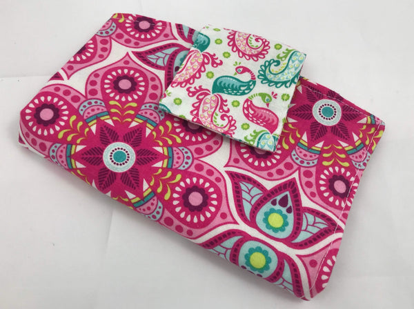Pink Privacy Pouch,  Paisley Sanitary Pad Wallet, Feminine Products Holder - EcoHip Custom Designs