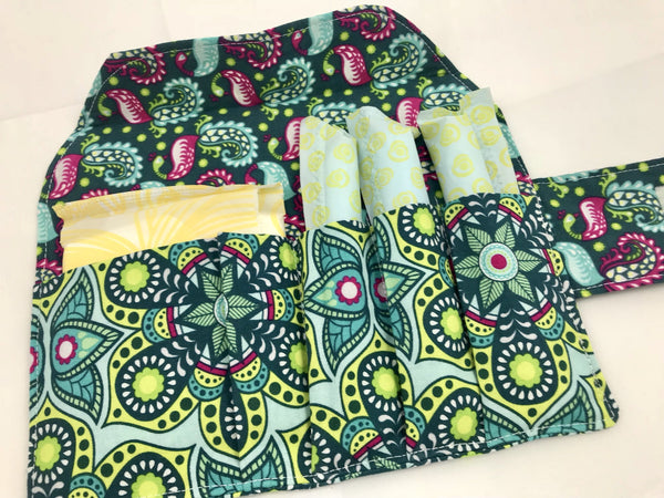 Green Privacy Pouch, Paisley Sanitary Pad Holder, Tampon Wallet - EcoHip Custom Designs