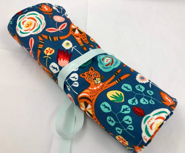 Tiger Jewelry Roll, Blue Travel Jewelry Case, Ring Holder, Soft Fabric Jewelry Bag - EcoHip Custom Designs