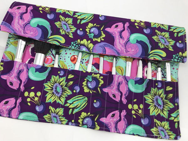 Squirrel Makeup Brush Roll, Raccoon Cosmetic Brush Case, Purple, Green - EcoHip Custom Designs