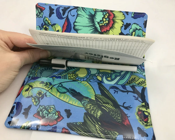 Blue Checkbook Cover, Floral Duplicate Check Book Register, Pen Holder, Top-Tear - EcoHip Custom Designs