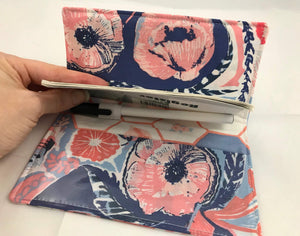 Red, Blue, Floral, Duplicate Check Book Cover, Women's Checkbook - EcoHip Custom Designs