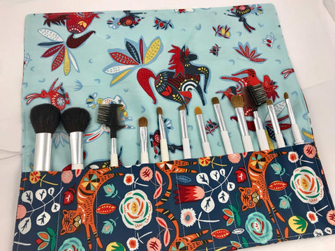 Tiger Makeup Brush Holder, Blue Cosmetic Brush Roll Up Case - EcoHip Custom Designs