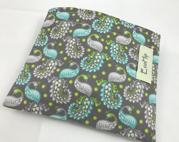 Paisley Snack Bag, Eco-Friendly Snack Bag for Peacock Fan, Bird Lover - EcoHip Custom Designs