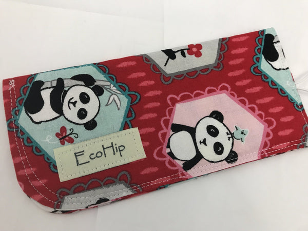 Red Sunglasses Case, Soft Eye Glasses Pouch, Panda Bear Reading Glasses Holder - EcoHip Custom Designs