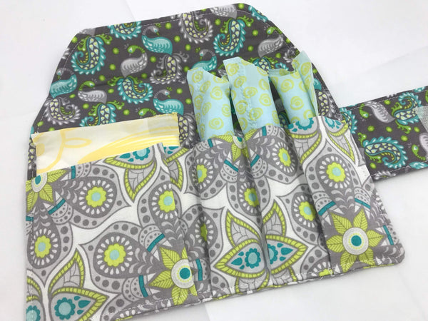 Gray Tampon and Pad Holder,  Women's Privacy Pouch, Paisley Feminine Products - EcoHip Custom Designs