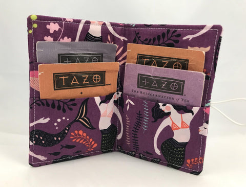 Mermaid Tea Wallet, Purple Gift Card Case, Travel Teabag Holder, Orchid Purple - EcoHip Custom Designs