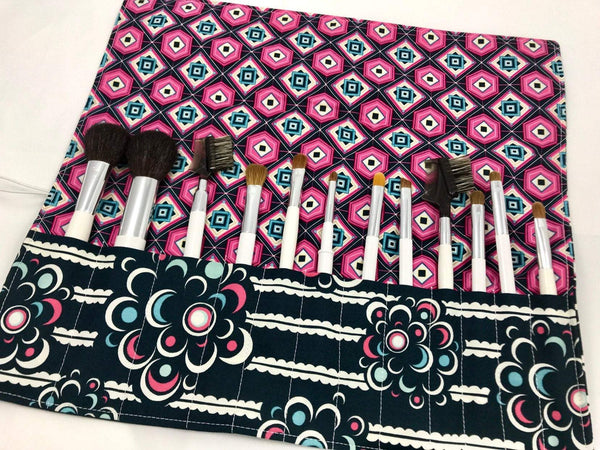 Pink Makeup Brush Roll, Floral Cosmetic Brush Holder, Travel Bag - EcoHip Custom Designs