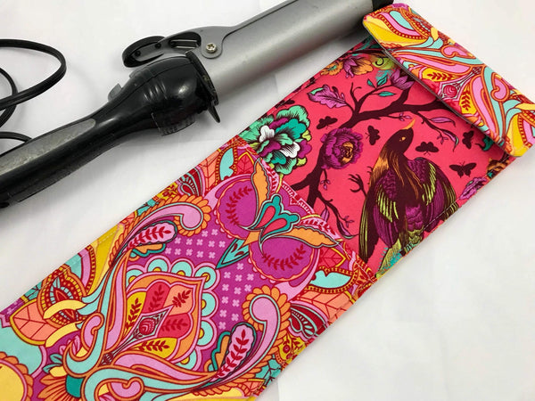 Owl Curling Iron Holder, Red Flat Iron Cover, Travel Curling Wand Case - EcoHip Custom Designs